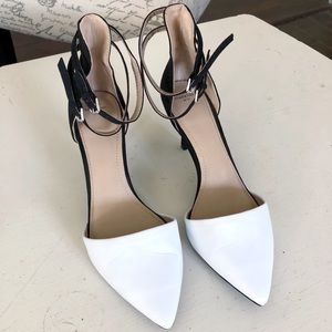 Zara black and white ankle strap pointed toe heels